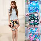 Women High Waist A-Line Skirts Floral Print Short Mini Dress Pencil Skirt Summer