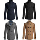 Fashion Men Double Breasted Trench Pea Coat  Coat Tops Outwear Jacket Overcoat