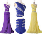 One Shoulder Chiffon Evening Gown Prom Party Long Formal Bridesmaid Dress 6-20