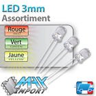 LED 3mm - Assortiment : rouges + vertes + jaunes - Clear ( Compatible Arduino )