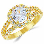 14K Solid Yellow Gold CZ Cubic Zirconia Solitaire Engagement Ring 1.5 Ct.