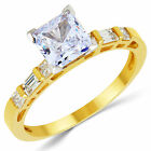 14K Solid Yellow Gold CZ Cubic Zirconia Solitaire Engagement Ring 1.25 Ct.