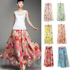 Fashion Girl's Women Chiffon Pleated Retro Long Maxi Printd Dress Elastic Waist