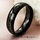 New 6mm Mens Womens Black & Silver Ring Stainless Steel Wedding Band Size 7-12