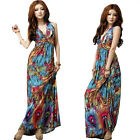 Sexy Women Paisley Summer Boho Halter V-Neck Long Maxi Evening Party Beach Dress