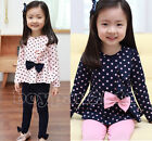 Kids Toddlers Girls Children Long Sleeve Top+Leggings Pants Outfit Sets 2-7Years
