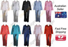 New Ladies Winter Warm Satin Style Pj's Pyjamas Long Sleeve Shirt and Pants Set