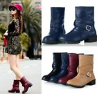 Womens Chic Buckle Strap Low Heel Western Cowboy Ankle Boots Shoes Plus Size 168