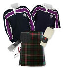 Sports Kit Premium 8yd Kilt Outfit - Purple Stripe Rugby Top - Scottish National