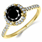14K Yellow Gold Black CZ Halo Engagement Ring 1 Ct. (Birthstones Available)