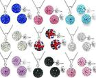 Hot Silver Plated Chain Necklace Stud Earrings Set CZ Crystal Disco Ball+box925