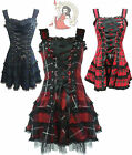 HELL BUNNY HARLEY TARTAN goth MINI DRESS punk