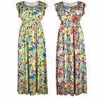 Ladies Womens Plus Size Frill Sleeve Floral Print Maxi Dress
