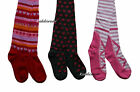 Girl's tights 2 3 4 5 6 7 8 years pink grey red woolies knitted cotton rich