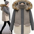 Hot A&W Women's Cotton-Padded Knitted Sleeve Faux Fur Jacket Warm Parka Overcoat