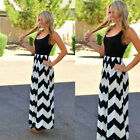 Summer Fashion Slim Fit Beach Casual Dress Wavy Line Sleeveless Strap Long Dress