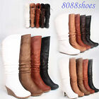 Flat Wedge High Heel Lace Zipper Slouch Mid -Calf Knee High Boot Shoe Size 5 -10