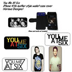 You Me At Six iPhone 4/4s leather style wallet case cover -Various Designs