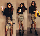 Sexy Women Lady Gold Crochet High Waist Hollow Party Cocktail Pencil Skirt S M L