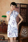 chinese qipao Blue and white porcelain short sleeve cotton printing dress 140424