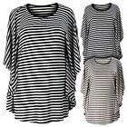 Ladies Womens Plus Size Striped Scoop Neck Poncho Style Top