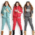 Fashion Winter Women's Casual 3pcs Sports Hoodies Suit Tracksuit Coat+Vest+Pants