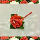 WEDDING FLOWERS BUTTONHOLE SINGLE SILK FOAM ROSE BRIGHT RED + DIAMANTÉ/PEARL