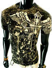NEW MENS BLACK ANGEL WINGS EAGLE CLUB KING ROYALTY FOIL UFC MMA GRAPHIC T-SHIRT