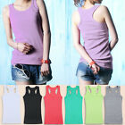 Ladies Womens Girls Vest Top Classic Cotton Plain T-Shirt Sleeveless Trendy Hot