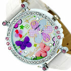 UK Flower Butterfly Crystal Leather Band Womens Girls Quartz Dial Wrist Watch