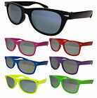 New Mens Womens Wayfarer Sunglasses Colour Frame Mirror Lens UV400 80's Retro