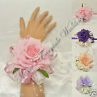 WEDDING FLOWERS/PROM LADIES TIE-ON WRIST CORSAGE SILK ROSES ASSORTED COLOURS