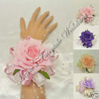 WEDDING FLOWERS/PROM PEARLS BRACELET WRIST CORSAGE SILK ROSES ASSORTED COLOURS