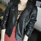 New Women Fashion PU Leather Jacket Casual Slim Zipper Turn-down Collar Outwear