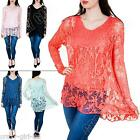 New Womens Ladies Two Layer Italian Long Sleeve Lagenlook Lace Top Size 8 10
