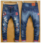 Men Patched Big Red Holey Vintage Stylish Cartoot  Designed Trousers Jeans Pants