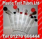 Clear plastic retail tubes with Black tops ,Flat base, 165 x 20.5mm, 50ML Vol