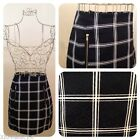 Black White Checked Sixties Style Mini Skirt- Smart Tailored High Waist A Line