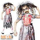Zombie Bride Girls Halloween Fancy Dress Fairytale Horror Kids Childs Costume