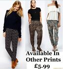 New Ladies Ali Baba Aztec Paisly Printed Cuffed Harem Pants Pocket Trousers 8-16