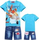 2014 N Kids Girls Boys Planes Dusty T-Shirt+Denim Shorts Suits Outfits 2-8 Years