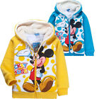 Winter Warm Kids Boys Girls Mickey Mouse Zip-up Coat Hoodie Size:3-10 Years