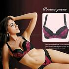 Women Gather Underwire Deep V 3/4 Cup Bra Push Up Comfy Brassiere 32-38 A/B Cup