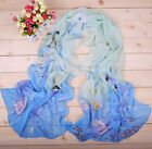 Women's Bird Pattern Sun Block Chiffon Soft Long Wraps Shawl Beach Silk Scarf