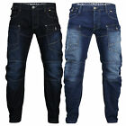 New Mens Designer Crosshatch Falcoz 3D Arch Denim Jeans Pants Tapered Cargo
