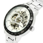 Men Black Skeleton Automatic Mechanical Silver Stainless Steel Band Watch