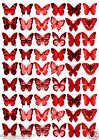 54 x Beautiful RED BUTTERFLIES Mixed Edible Cup Cake Toppers WEDDING / BIRTHDAY