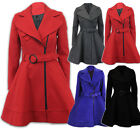 NEW CASUAL JACKET LADIES PARKA WINTER PARTY WOOL BLEND TRENCH COAT LONG TOP 8-18