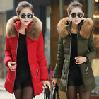 NEW WINTER LADIES HOODED PARKA LONG COAT DOWN JACKET FAUX FUR HOODIE TOP OUTWEAR