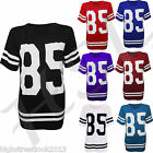 NEW WOMENS GLITTER TOP LADIES T-SHIRT 85 OVERSIZE VARSITY JERSEY SWEAT SIZE 8-14